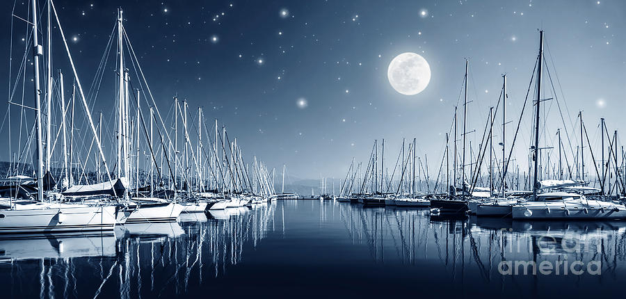 Yacht Harbor At Night by Anna Om