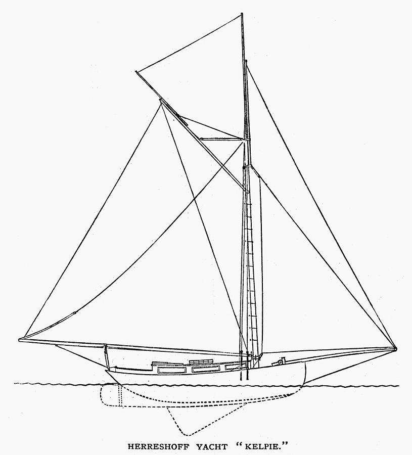 1882 Photograph - Yacht: Kelpie, 1882 by Granger