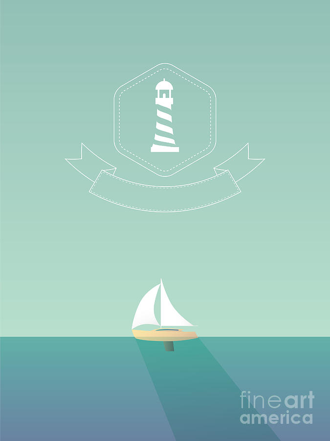 Symbol Digital Art - Yacht Sailing In The Sea. Traveling by Mjgraphics