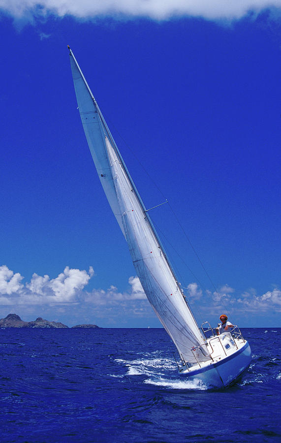 Yacht Sailing On Caribbean Sea Off St Photograph by Richard Ianson