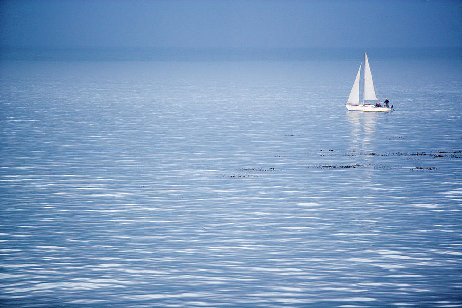 Yacht Sails The Ocean, California by Ty Milford