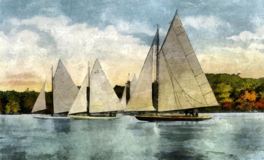 Sailboats Digital Art - Yachting In Saugatuck by Michelle Calkins