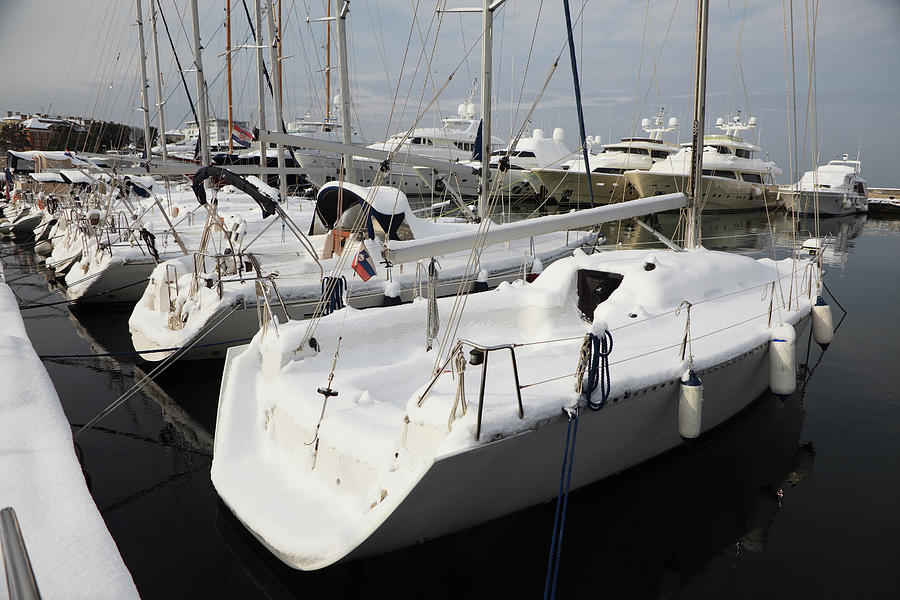 Yachts And Boats Under The Snow Photograph by Mayo5