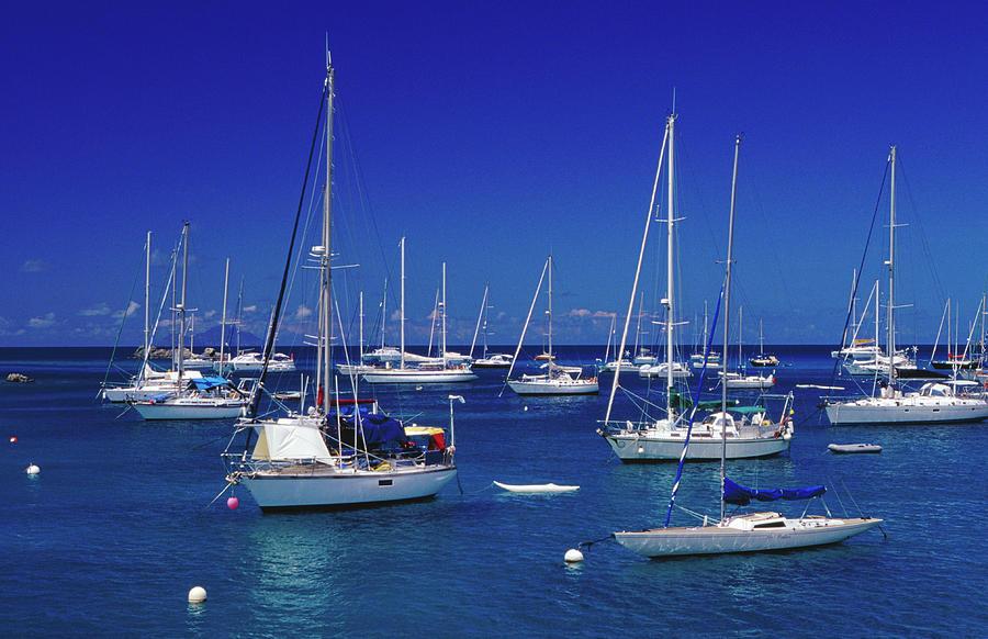 Yachts Moored On The Caribbean Sea At Photograph by Richard Ianson