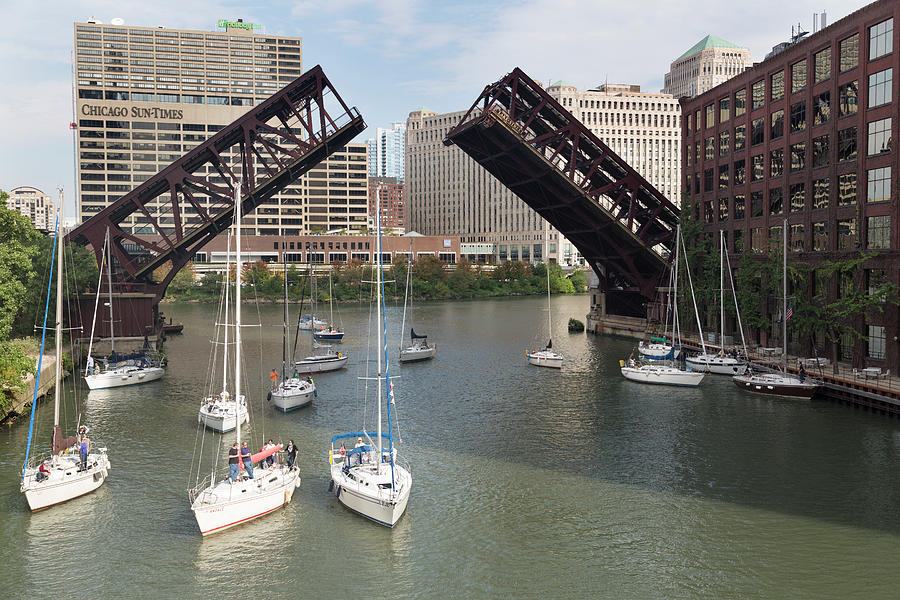 Chicago River Photograph - Yachts Passing Under The Raise Lake by Chris Mellor