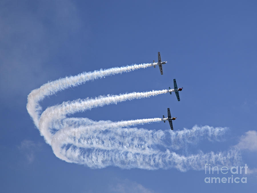 Acrobatic Photograph - Yaks Aerobatics Team by Jane Rix