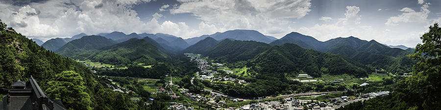 Japan Photograph - Yamadera view panorama in colour by Nathan Spotts
