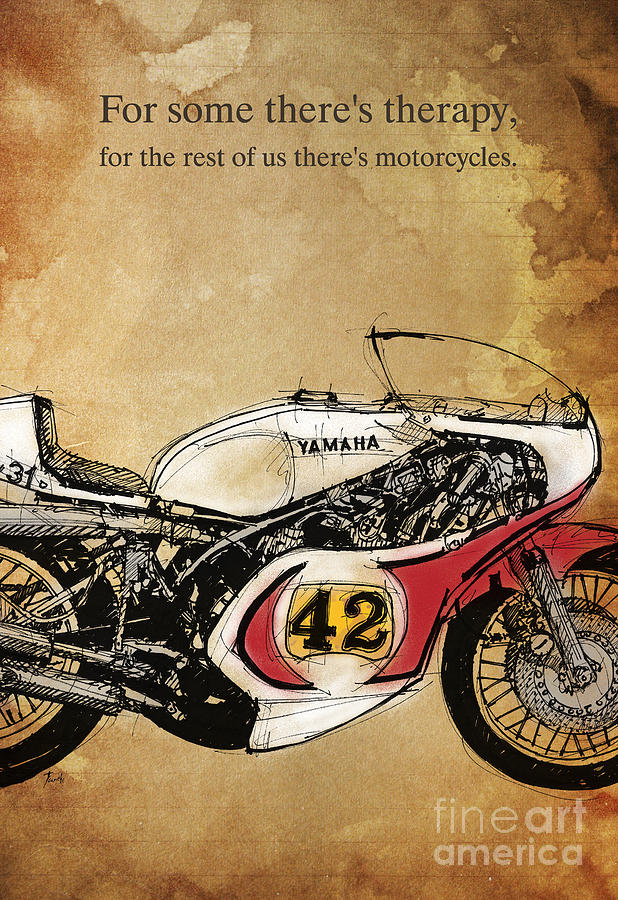 Quote Drawing - Yamaha 42 Quote by Drawspots Illustrations
