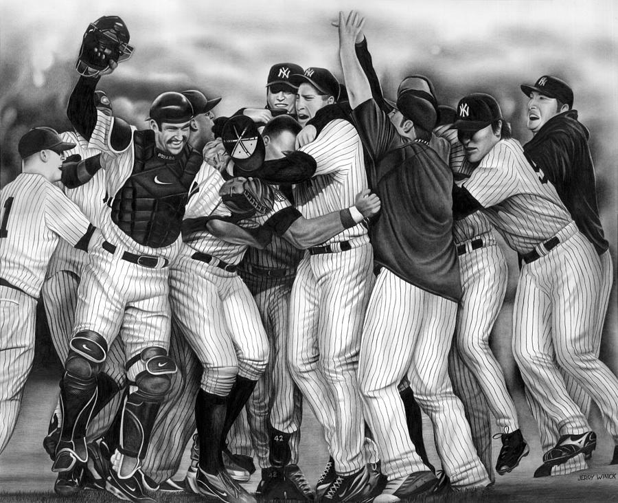 Yankees Drawing - Yankee Celebration by Jerry Winick
