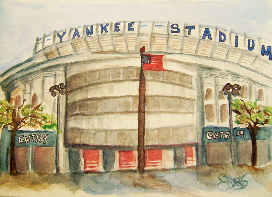 Yankee Stadium Painting by Elaine Duras
