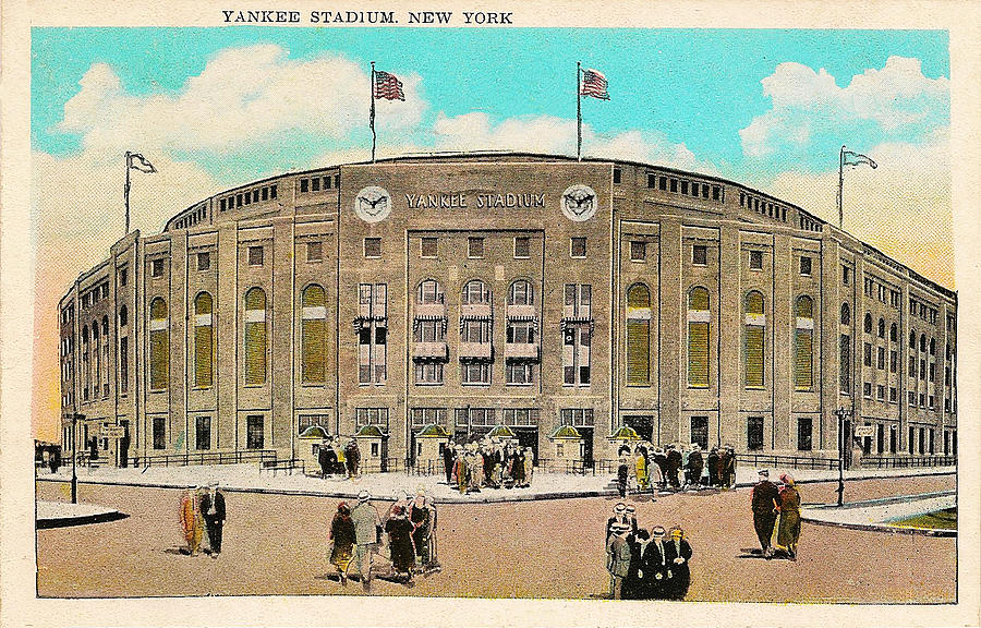 Yankee Drawing - Yankee Stadium Postcard by Bill Cannon