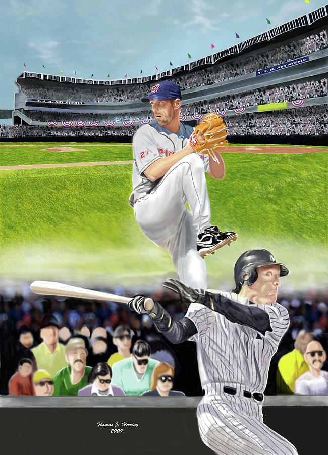 Baseball Digital Art - Yankees Vs Indians by Thomas J Herring