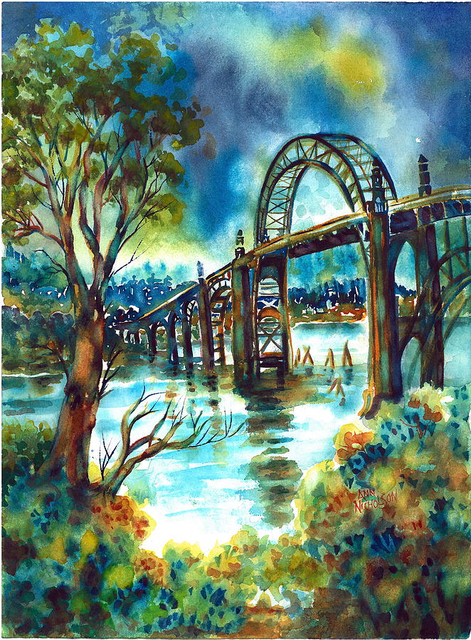 Bridge Painting - Yaquina Bay Bridge by Ann  Nicholson