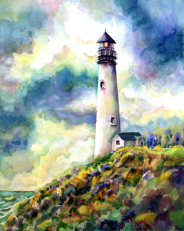 Lighthouse Painting - yaquina Head Lighthouse by Ann  Nicholson