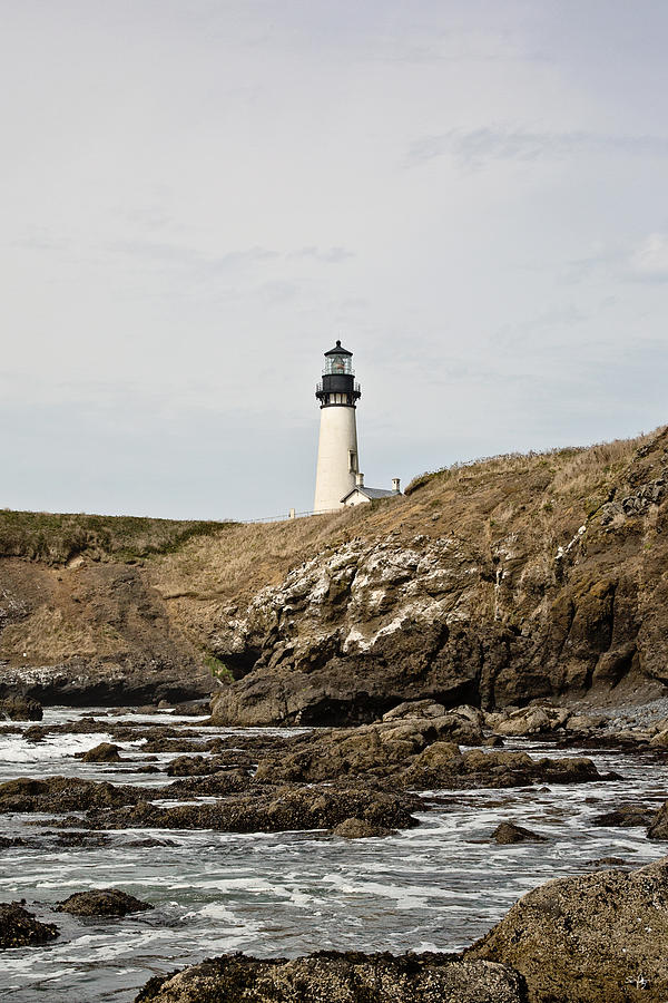 Lighthouse Photograph - Yaquina Head Lighthouse From The Beach by Scott Pellegrin