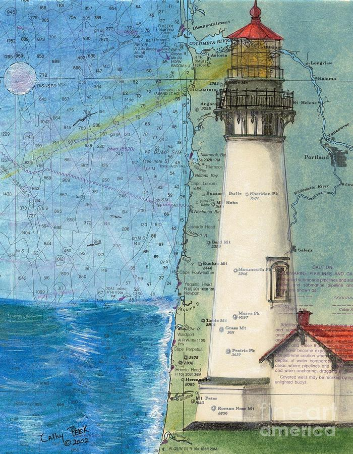 Yaquina Head Lighthouse Or Nautical Chart Map Art Cathy
