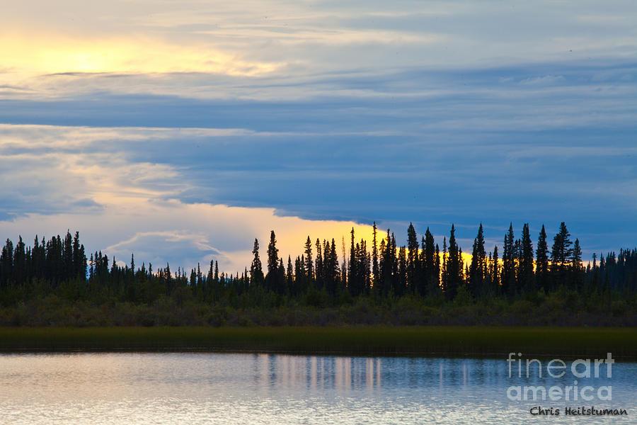 Alaska Photograph - Yarger Lake Sunset by Chris Heitstuman