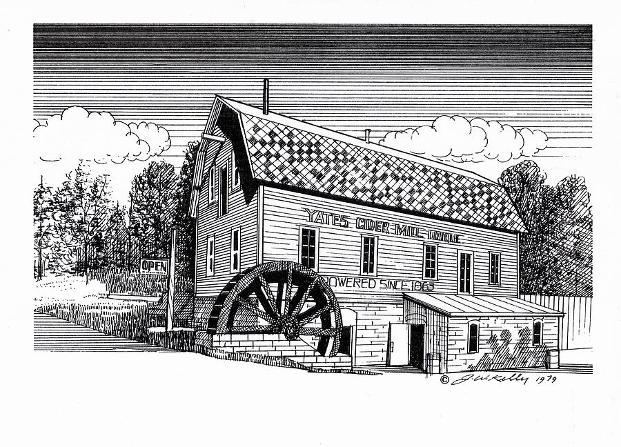 Antique Cider Mill  Drawing - Yates Cider Mill by J W Kelly