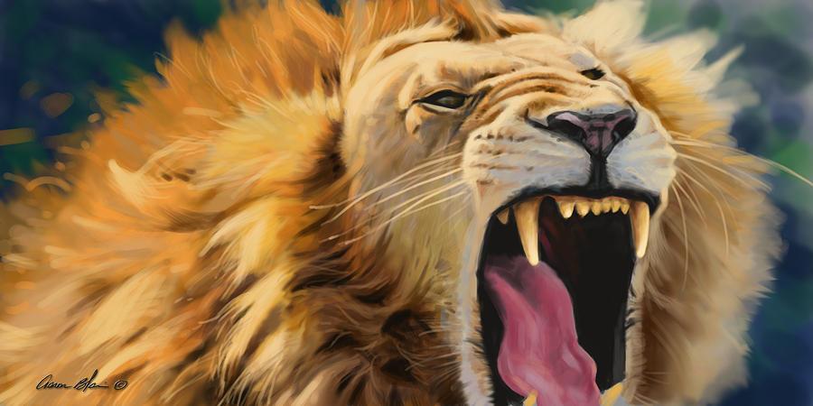 Lion Digital Art - Yawning Lion by Aaron Blaise