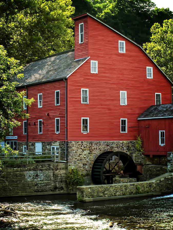 Old Photograph - Ye Old Red Mill by Wayne Gill
