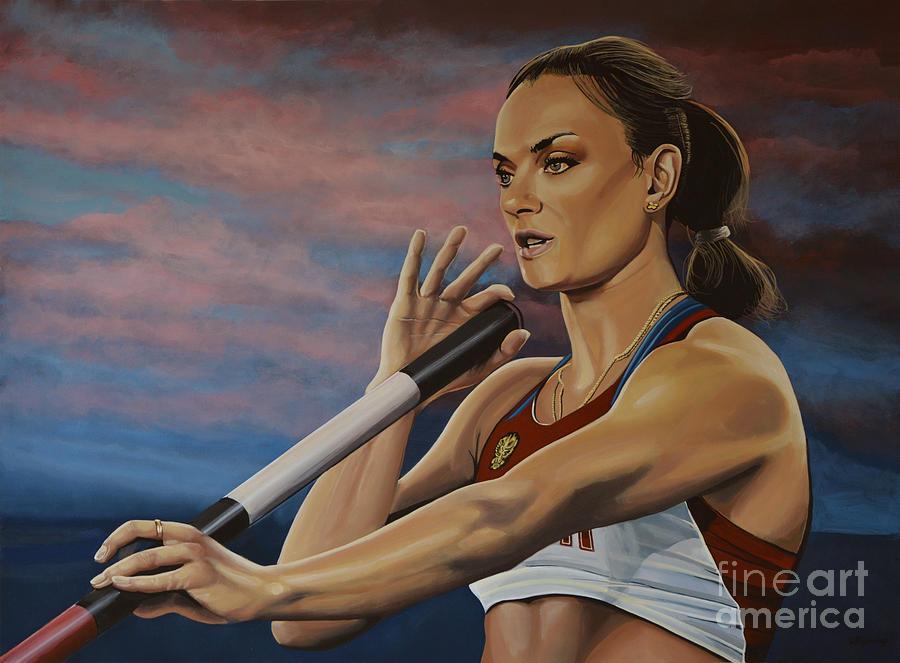Russian Pole Vaulter Painting - Yelena Isinbayeva   by Paul Meijering