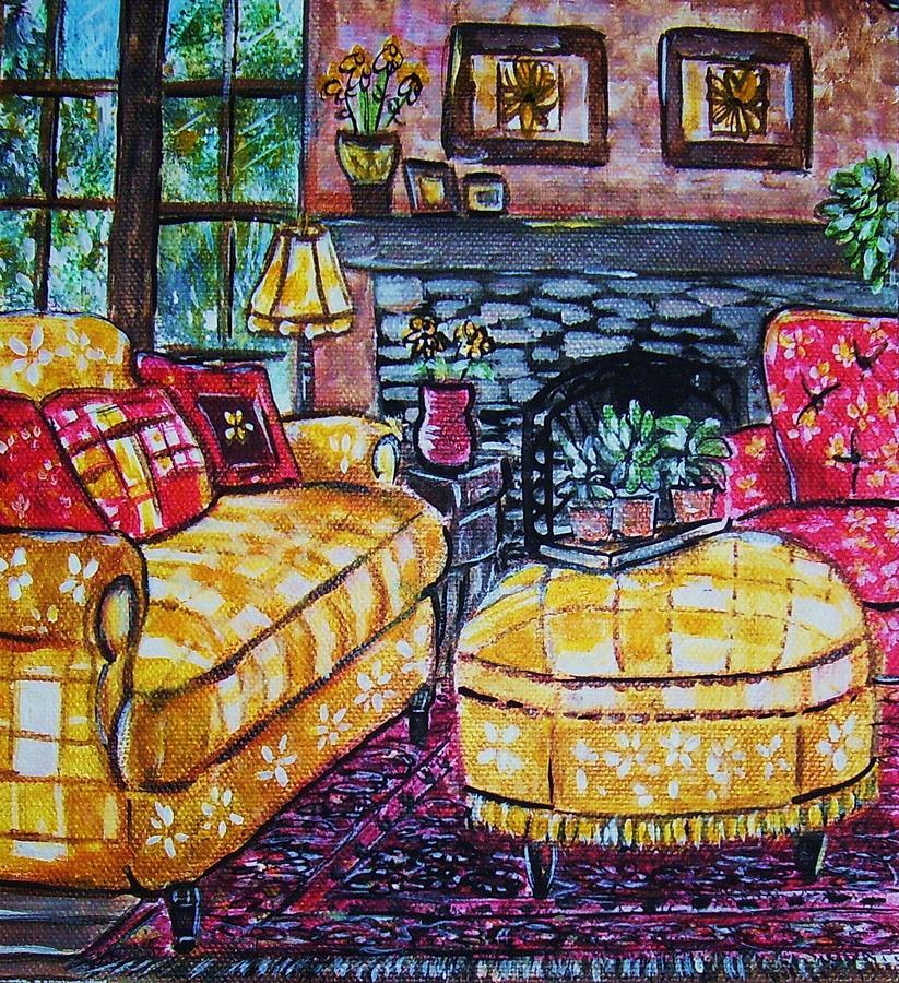 Livingroom Fireplace Painting - Yello Sofa by Linda Vaughon
