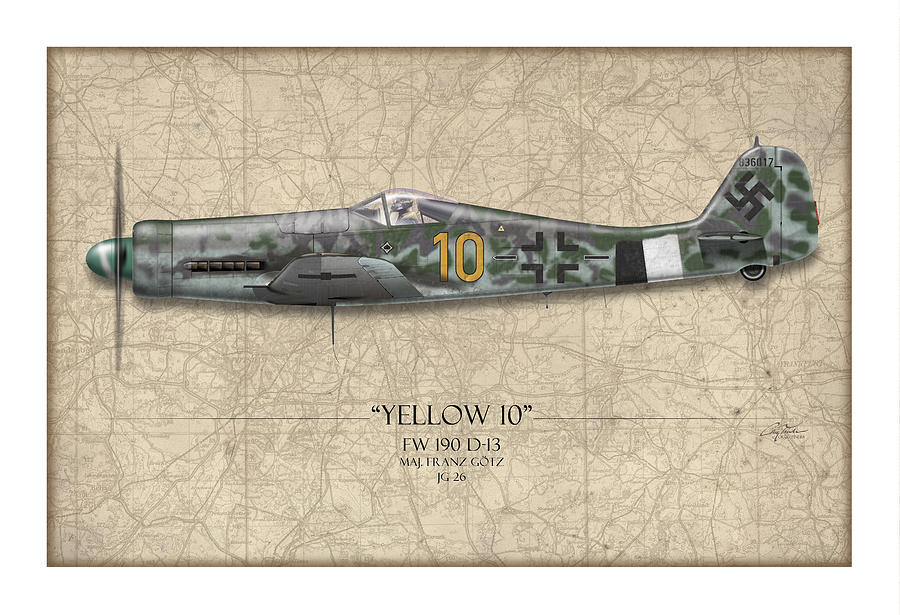 Aviation Painting - Yellow 10 Focke-wulf Fw190d - Map Background by Craig Tinder