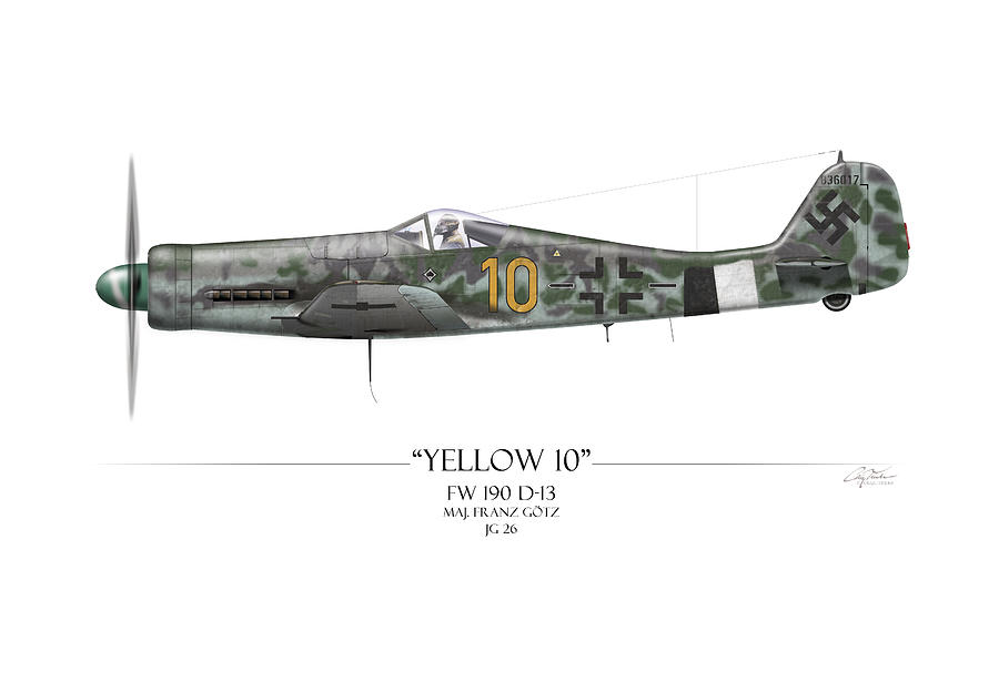 Aviation Painting - Yellow 10 Focke-wulf Fw190d - White Background by Craig Tinder