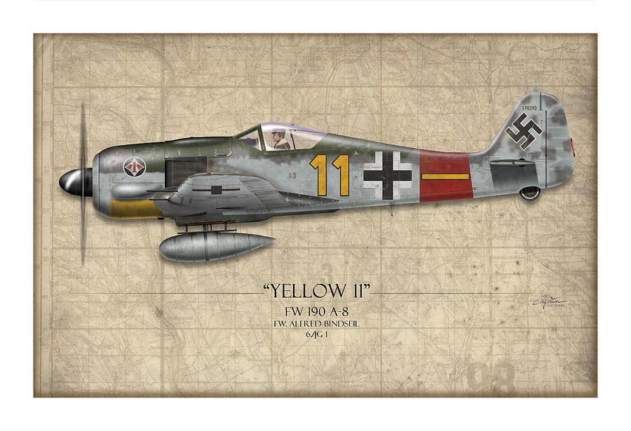 Aviation Painting - Yellow 11 Focke-wulf Fw 190 - Map Background by Craig Tinder