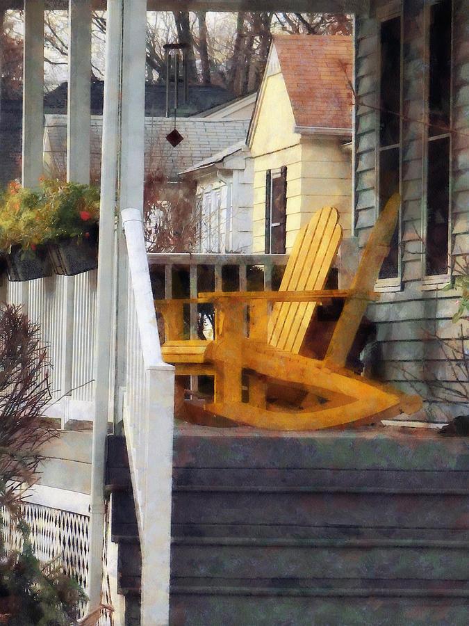 Chair Photograph - Yellow Adirondack Rocking Chairs by Susan Savad