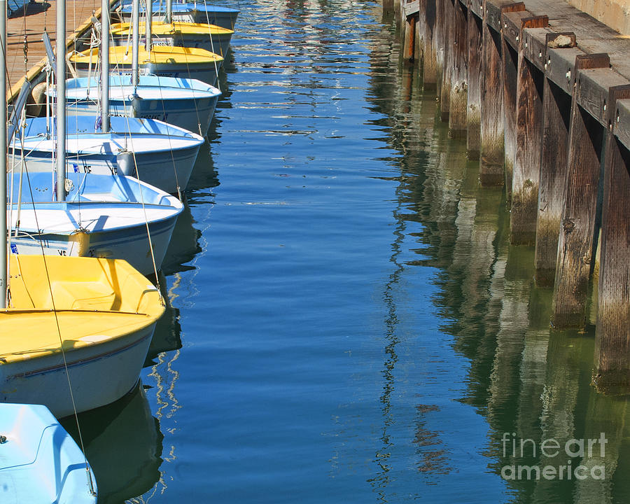 Sail Boats Photograph - Yellow And Blue Sailboats From The Book My Ocean by Artist and Photographer Laura Wrede