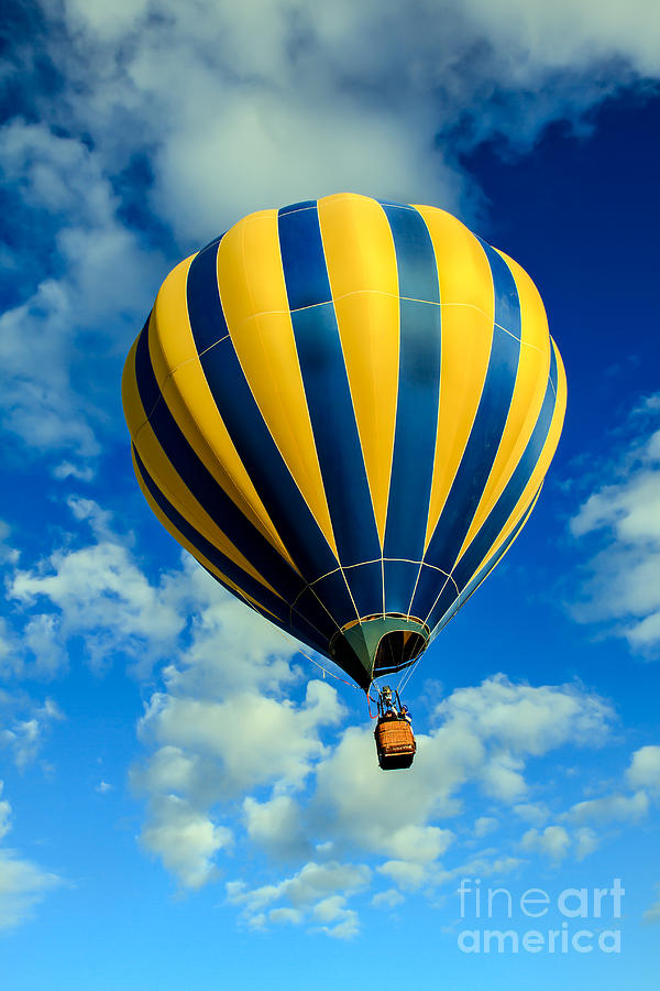 Yellow And Blue Striped Hot Air Balloon Photograph By