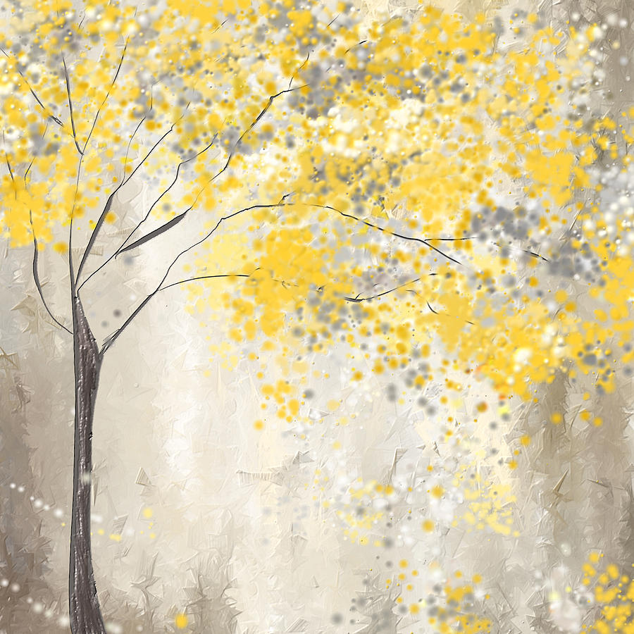 Yellow and gray tree painting by lourry legarde Bright yellow wall paint