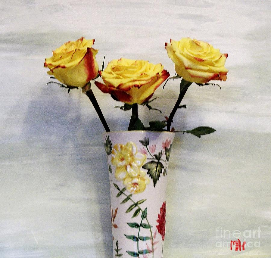 Photo Photograph - Yellow And Red Tipped Roses by Marsha Heiken