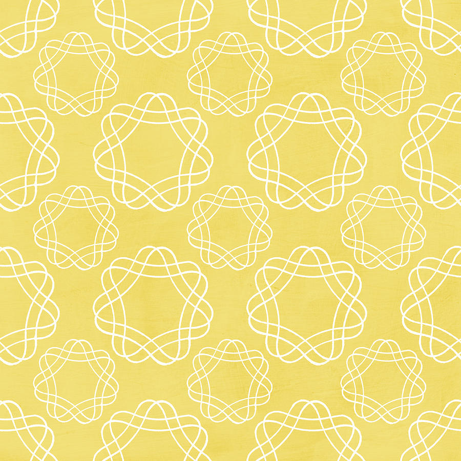 Yellow And White Geometric Floral Mixed Media