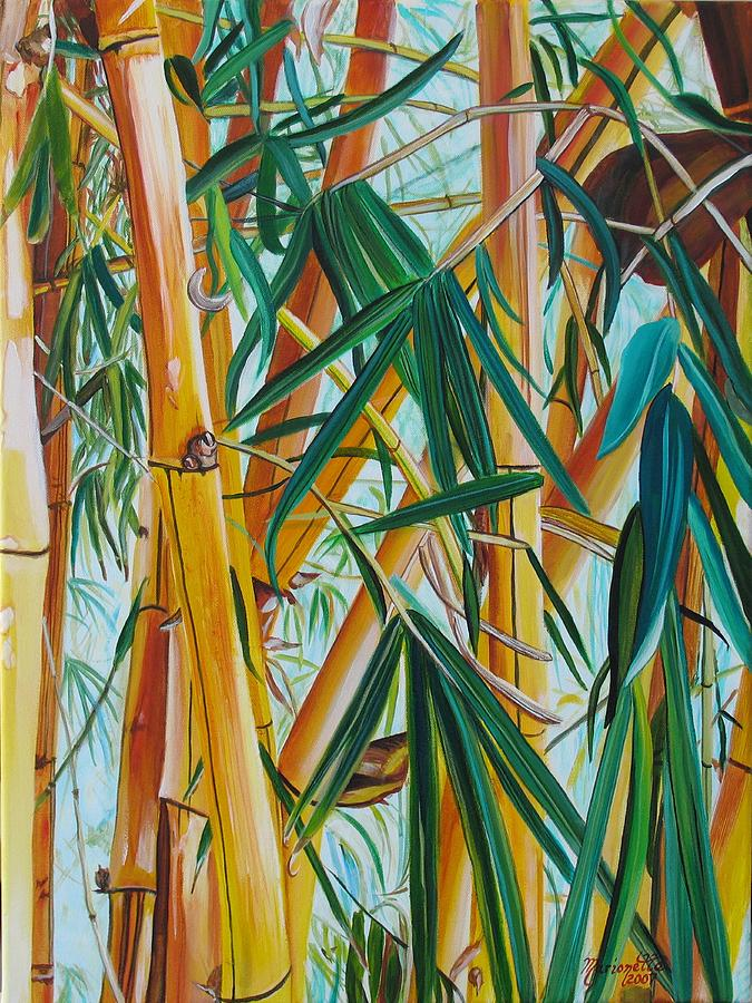 yellow bamboo painting by mario te taboniar