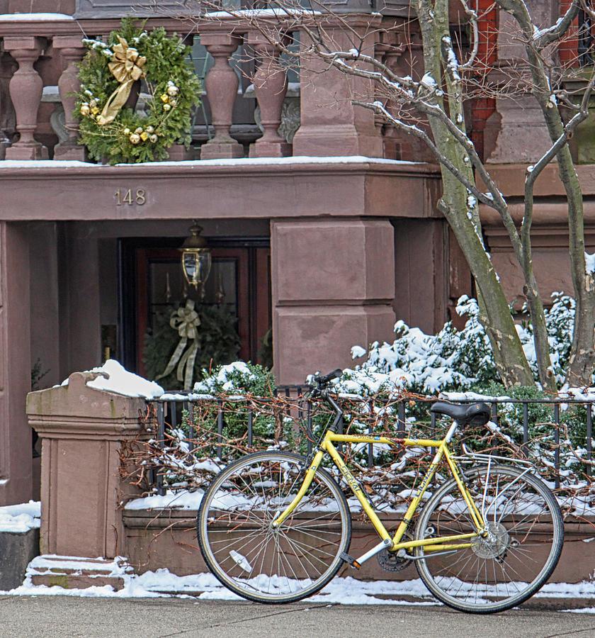 Bike Photograph - Yellow Bike In Boston by Susan OBrien
