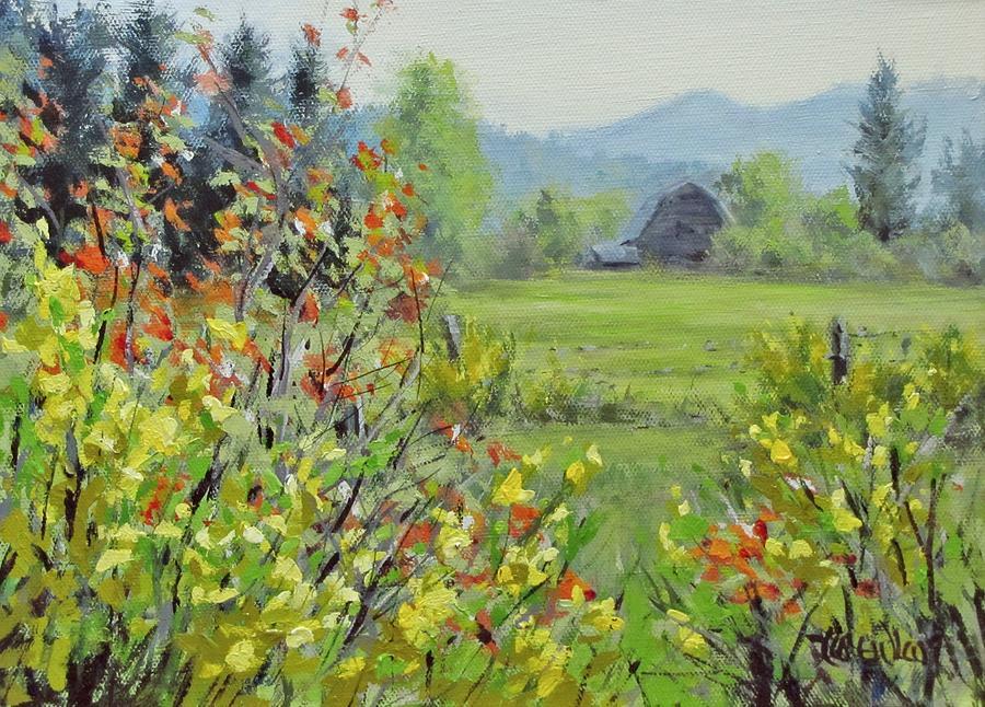 Landscape Painting - Yellow Broom Spring by Karen Ilari