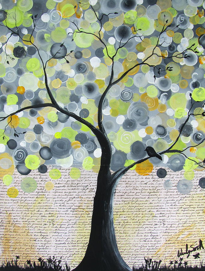 yellow bubble tree painting by wendy smith. Black Bedroom Furniture Sets. Home Design Ideas