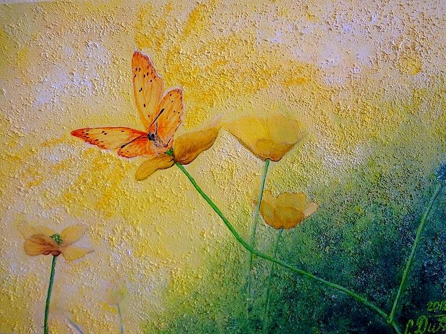 Floral Painting - Yellow Butterfly by Svetla Dimitrova