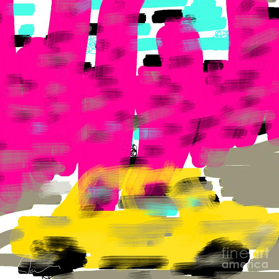 Painting Digital Art - Yellow Cab Big City by James Eye
