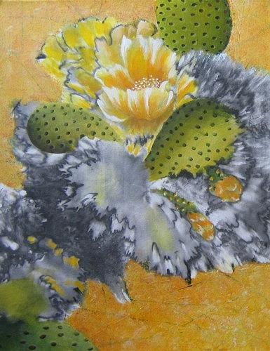 South West Painting - Yellow Cactus by Ashley Coll