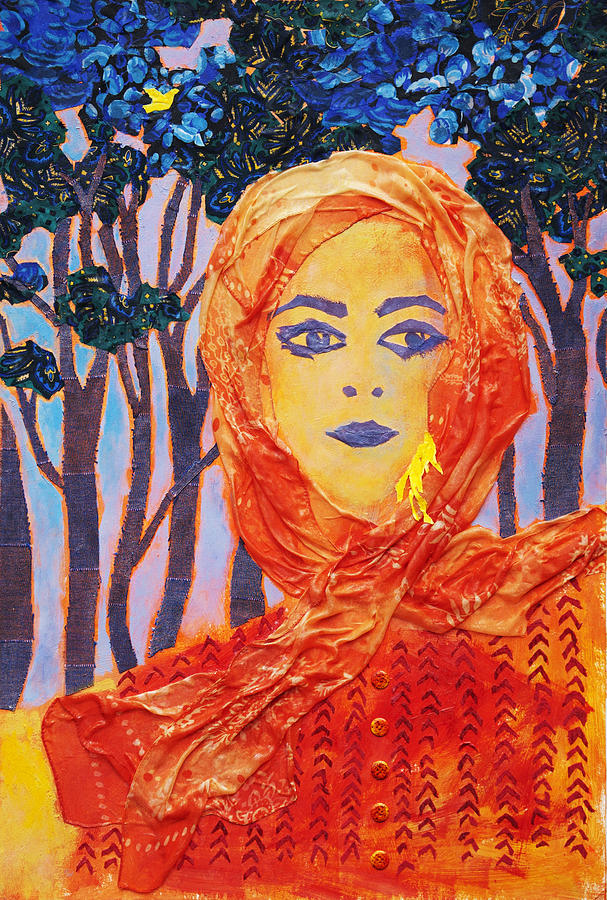 Female Portrait Mixed Media - Yellow Canary by Diane Fine