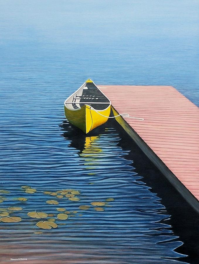 Landscape Paintings Painting - Yellow Canoe by Kenneth M  Kirsch