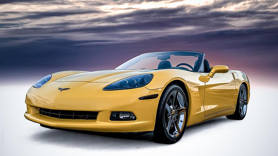 Yellow Digital Art - Yellow Corvette Convertible by Douglas Pittman