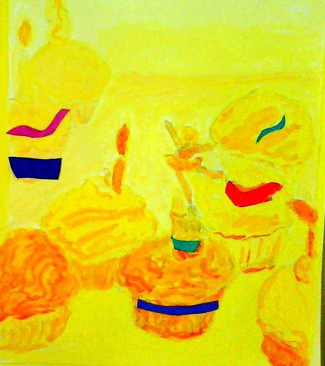 Food Painting - Yellow Cupcakes by Suzanne Berthier