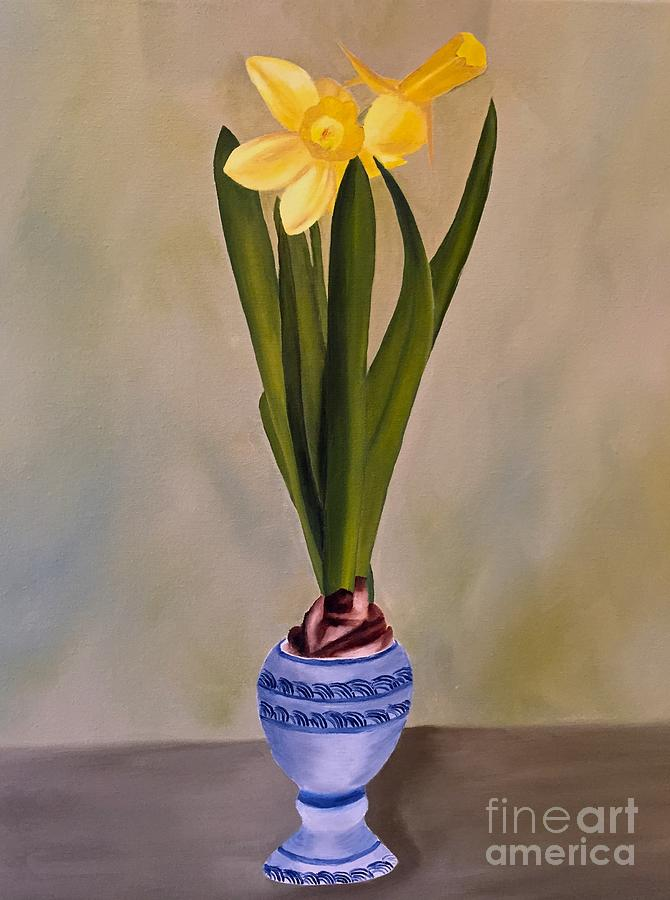 Yellow Daffodil In Vase Painting By Sonja Austell