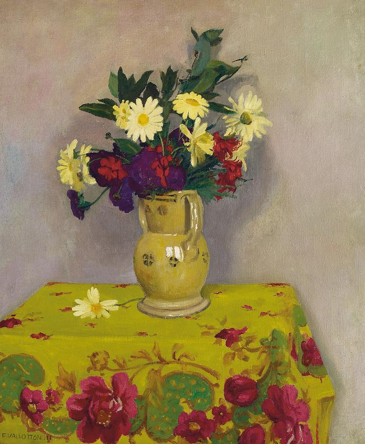 Still-life Painting - Yellow Daisies And Various Flowers by Felix Edouard Vallotton