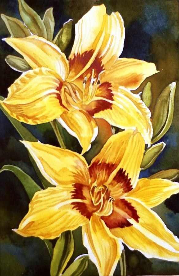 Lily Painting - Yellow Daylilies by Alfred Ng