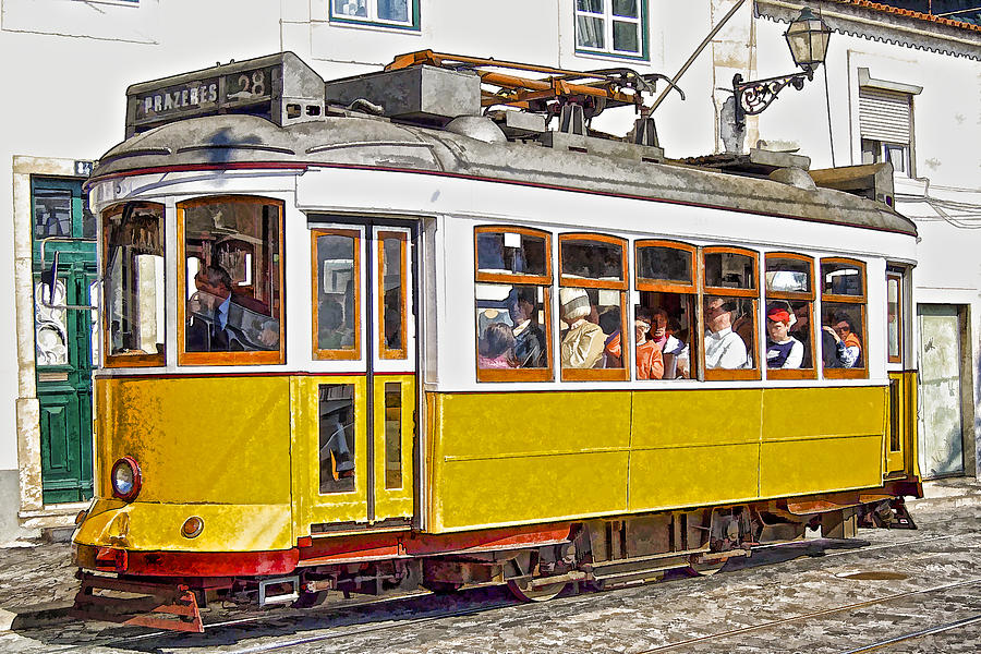 Lisbon Photograph - Yellow Electric Trolly Of Lisbon by David Letts